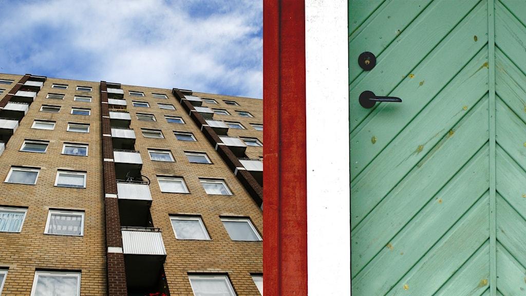 Ett höghus och en dörr till ett fritidshus.