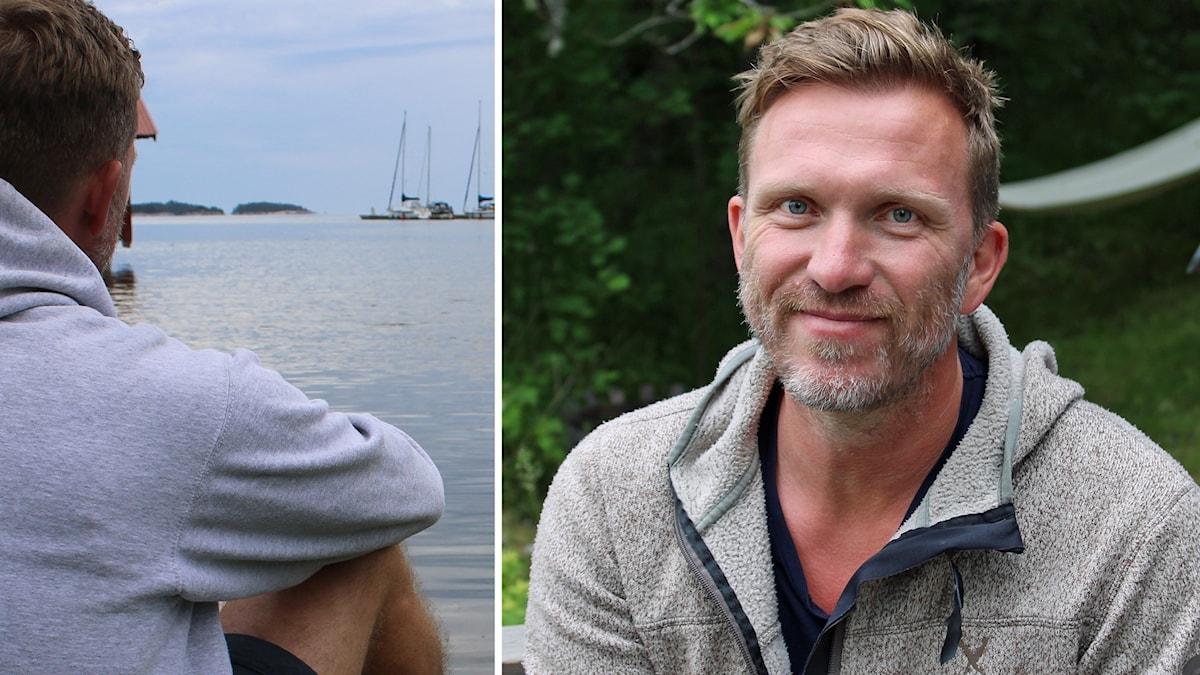 Två bilder: Fredrik Gustavsson blickar ut över havet och porträttbild.