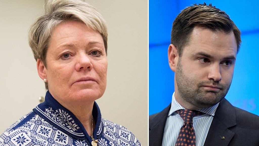 Riksdagsledamoten Lotta Finstorp (M) inflikt vid sidan av den nu avhoppade Erik Bengtzboe (M).