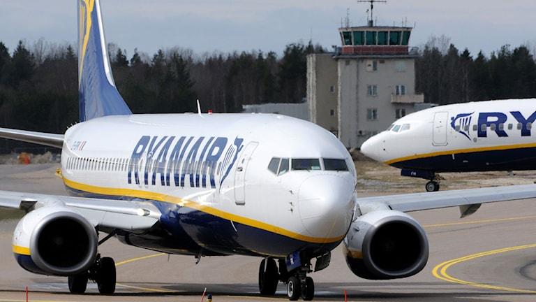 Ryanairplan på Skavsta. Foto: Johan Nilson/TT.