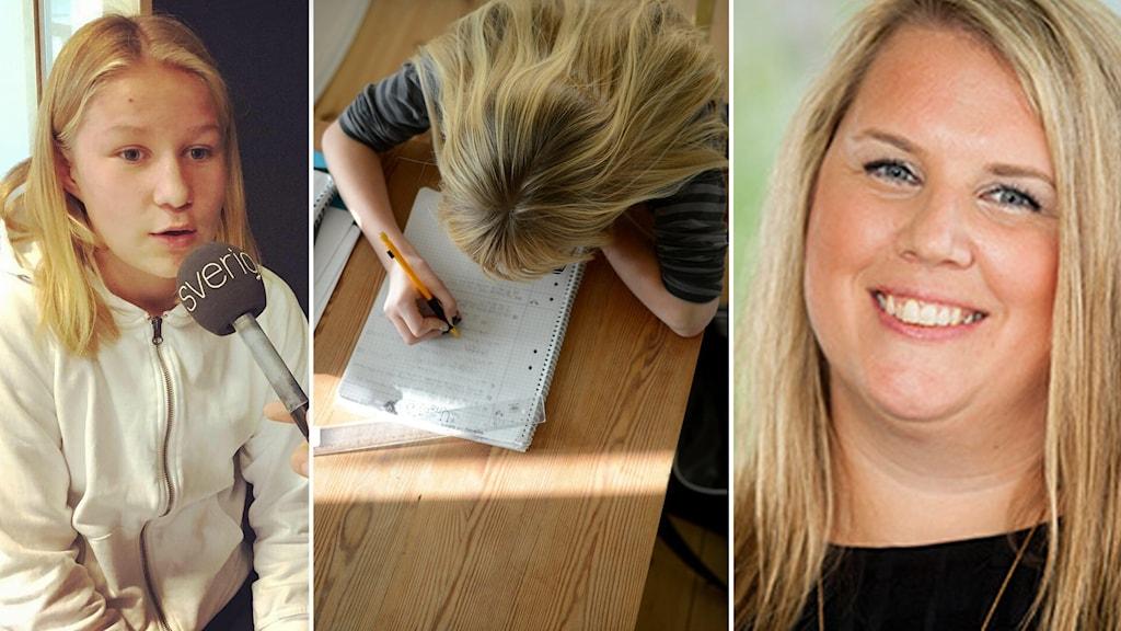 Sjundeklassaren Agnes Bojesen, inklippt vid sidan av rektor Caroline Bergström och en flicka som läser läxor