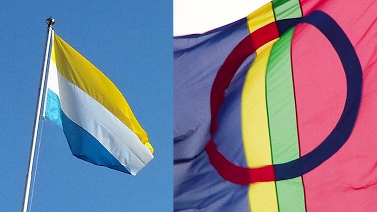 Tornedalens flagga och den samiska flaggan.
