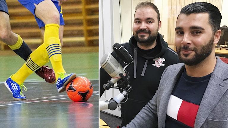 Futsal-gäster i studion.  Robin Rosenstam, utvecklingsansvarig i Strängnäs Futsal Club, och Jiad Hassi sportchef för AFC Eskilstuna Futsal.