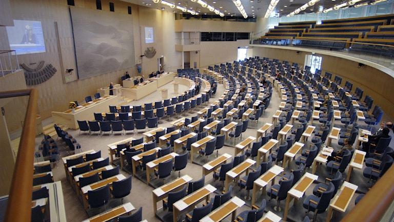 Plenissalen i riksdagshuset. Foto: SVT Bild.