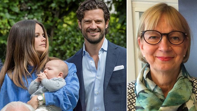 Prins Alexander i händerna på mamma Sofia och pappa Carl Philip.