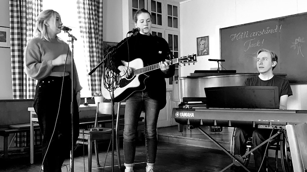 Ebba Lindgren, Linnéa Lindgren och Gustaf Andersson.