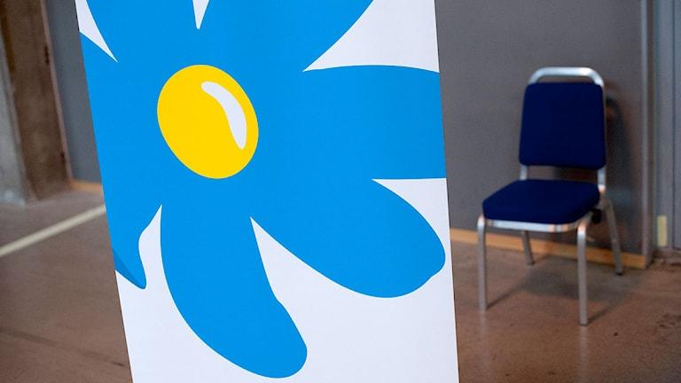 Sverigedemokraternas partisymbol och en stol. Foto: Björn Larsson Rosvall/TT.