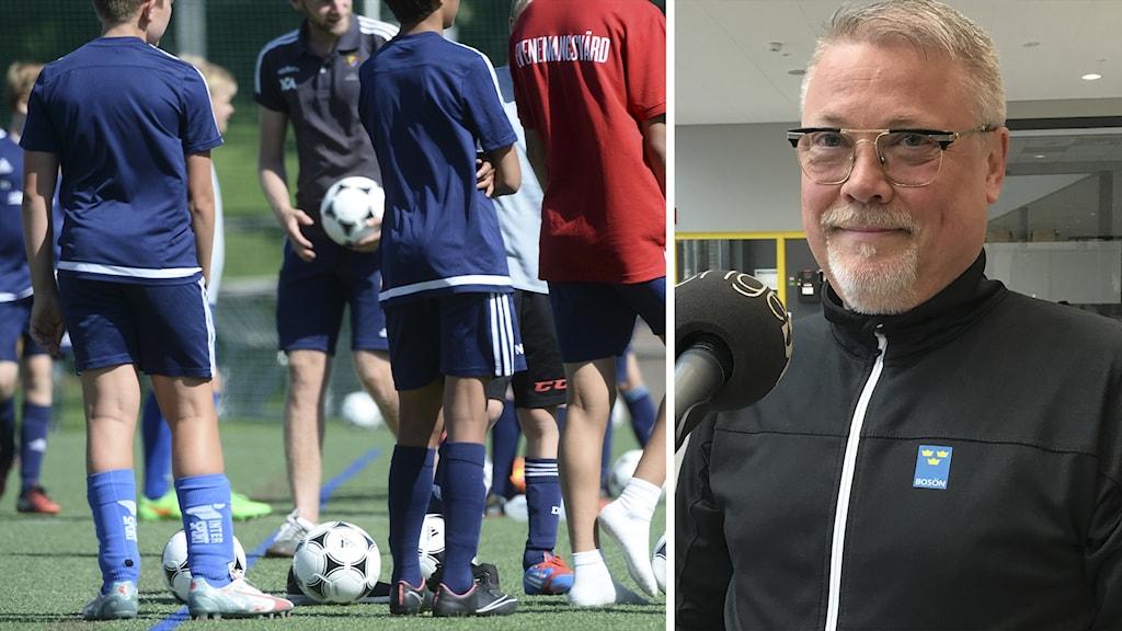 Jörgen Hedberg, länsidrottschef på RF Sisu Sörmland, i ett fotomontage med barn som tränar fotboll.