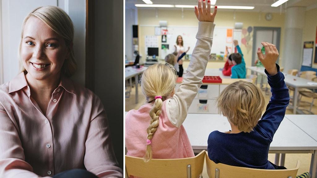 Författaren Lisa Bjärbo i fotomontage med bild på två barn i ett klassrum.