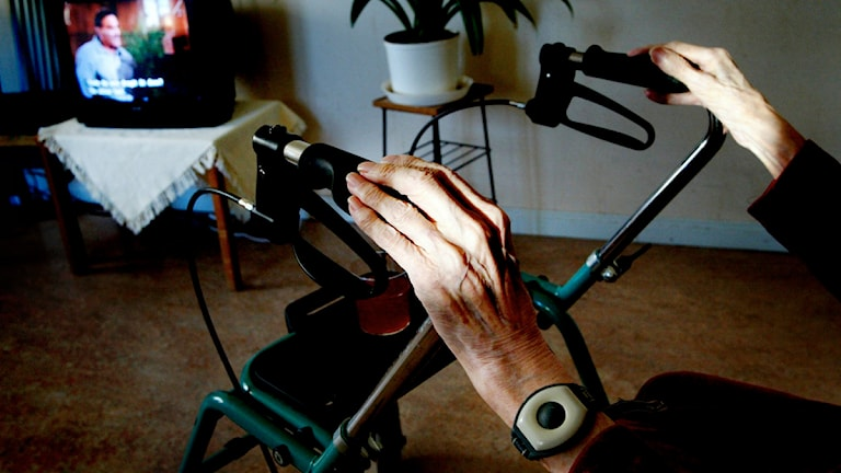 Äldre persons händer på rullator. Foto: Jessica Gow/Scanpix.