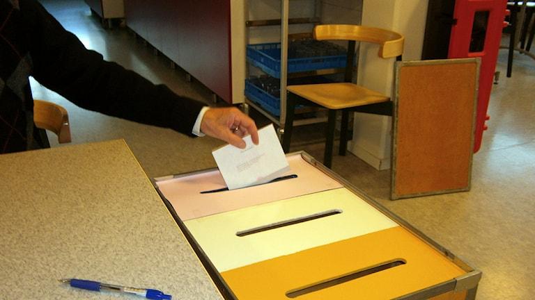 En arm på en person som lägger i valsedel en valurna. Foto: Mikael Strang/Sveriges Radio.