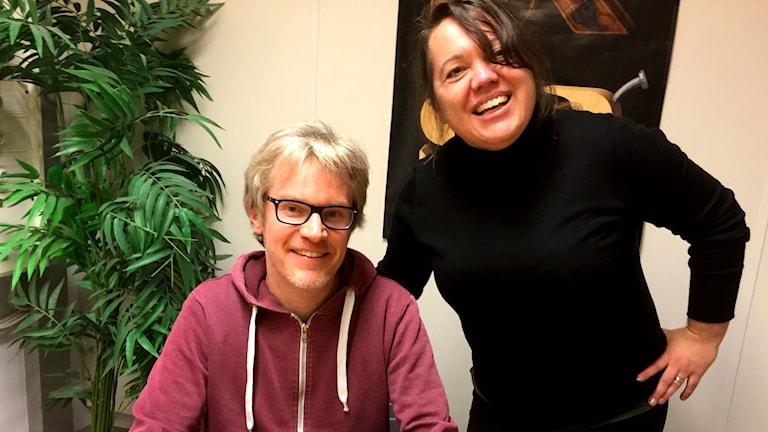 Mediakollarna Jörgen Leidebrant och Annica Edwall.
