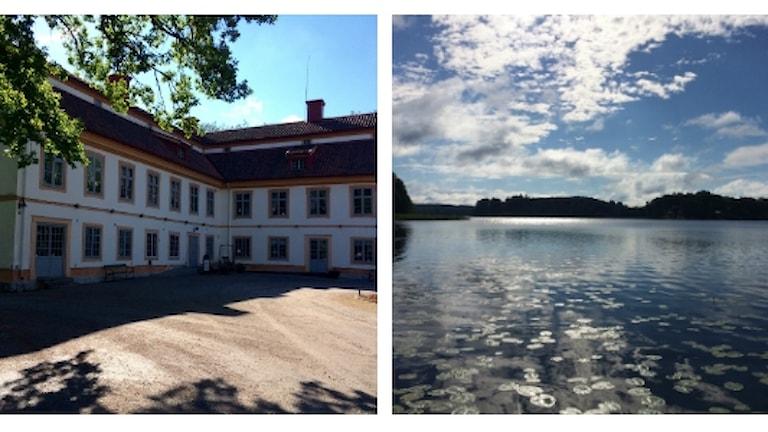 Herrgårdsbyggnad och sjö med näckrosor