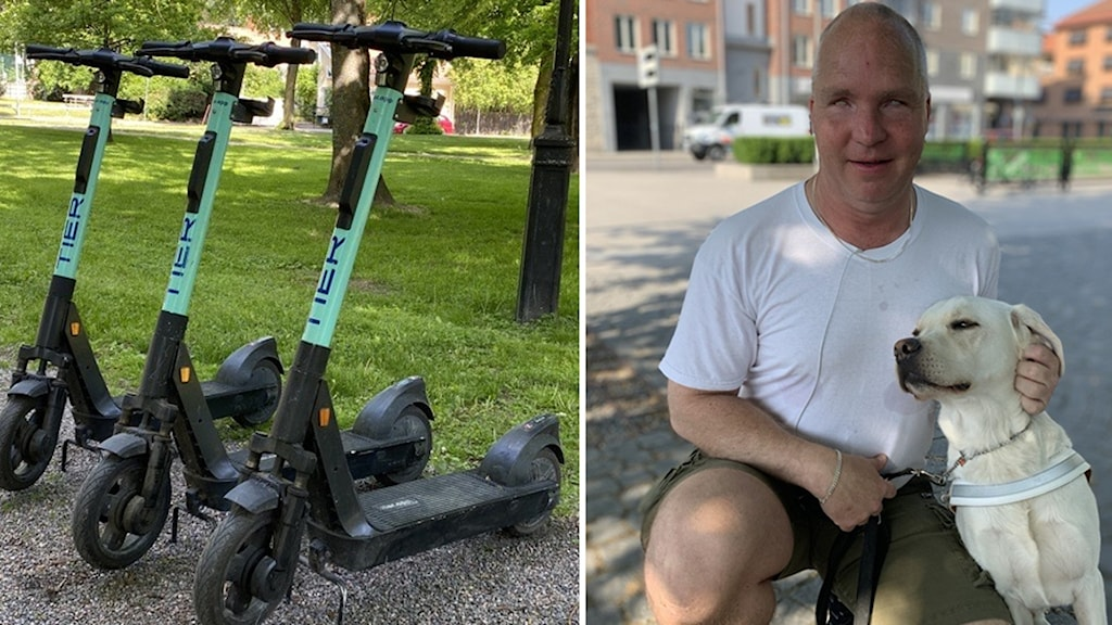 en man med ledarhand i fotomontage med en bild på elsparkcyklar.