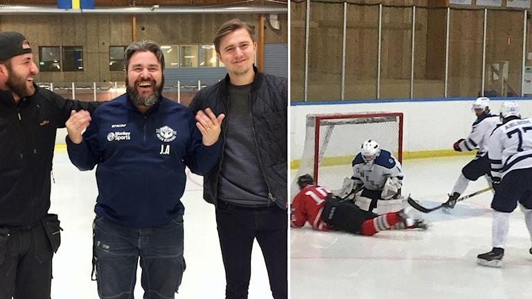 Rasmus Ahlbom (back), Jörgen Ahlbom (tränare) och Kalle Larsson (center).