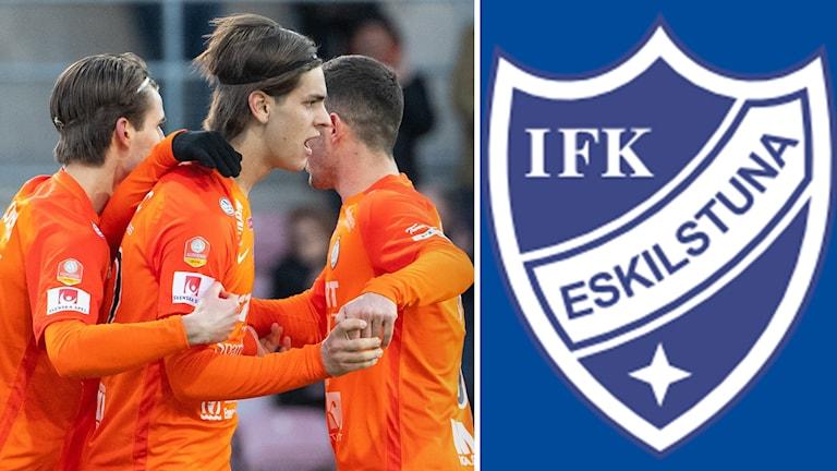 Spelare i Afc Eskilstuna ihopklippt med emblem