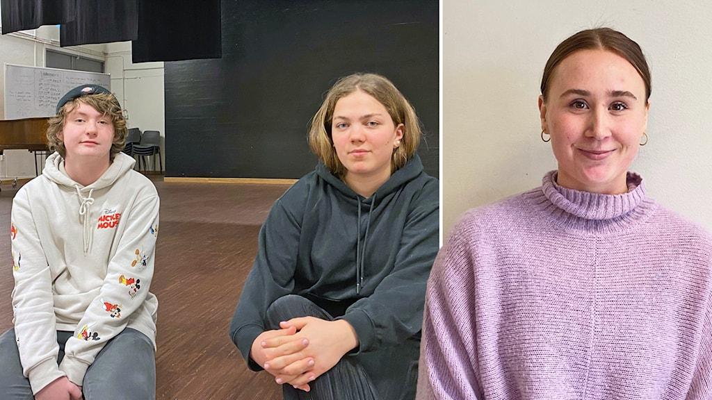 två elever och en danslärare i fotomontage
