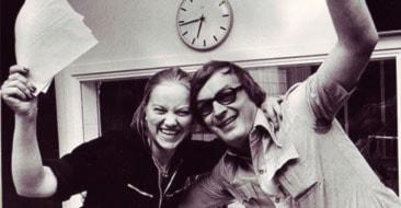 Susanne Dahlberg och Sören Lundqvist efter den första sändningen den 9 maj 1977.