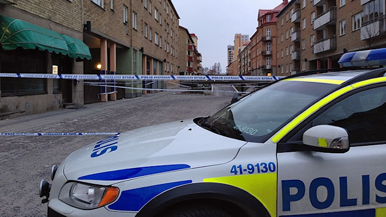 Polisbil. Foto: Ida Lindhagen/Sveriges Radio.