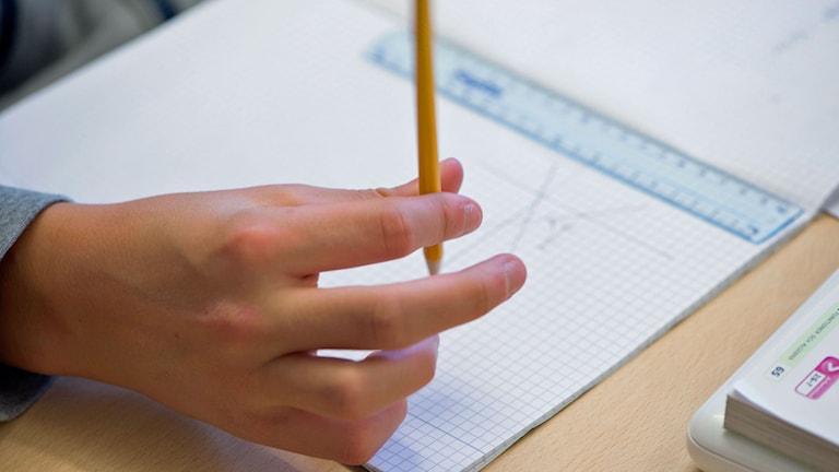 Hand håller penna. Foto: Fredrik Sandberg/TT.