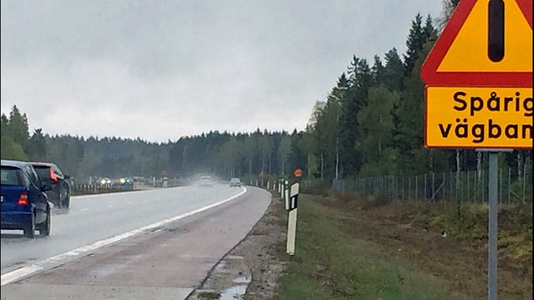 Motorväg E20 spår i betongen. Foto: Michael Berwick/Sveriges Radio.