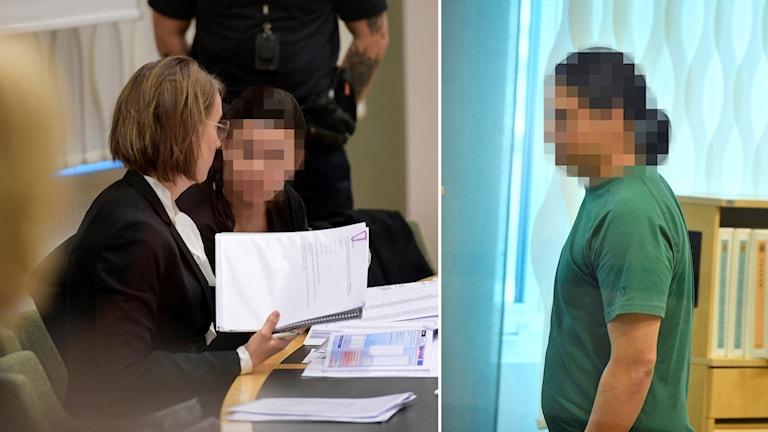 Pixlad bild på huvudmisstänkta mannen och kvinnan.