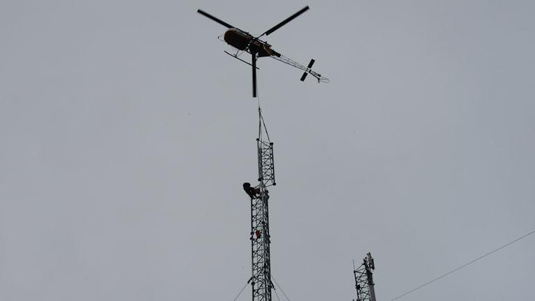 Masten i Hällberga byggs på. Foto: Sveriges Radio.