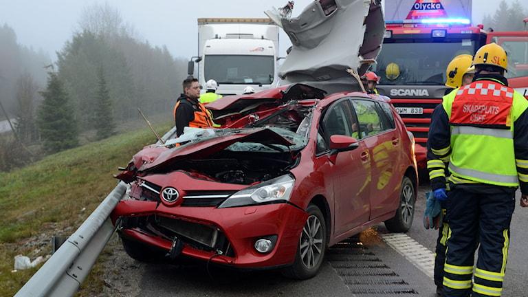 Allvarlig olycka på E4. Foto: David Hårseth.