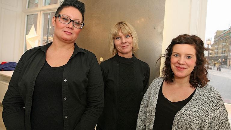 Linda, Anneli och Elena i Fristadssalen i Eskilstuna. Foto: Jacob Hansson/Sveriges Radio