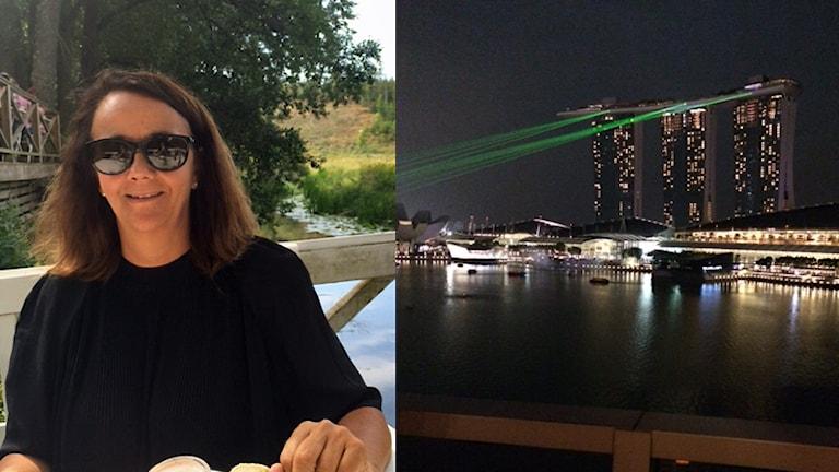 Helena Lindvall och en vy över Singapore. Foto: Privat.