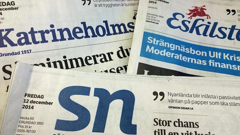Tidningar. Foto: Fredrik Blomberg/Sveriges Radio.