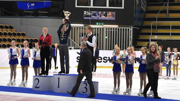 Ondrej Spiegl från Eskilstuna blev svensk mästare i konståkning. Foto: Moa Lindgren.