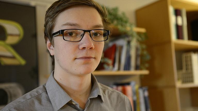 Frans Rålin, elevernas skyddsombud på Gripenskolan i Nyköping. Foto: Per Thyrén/Sveriges Radio.