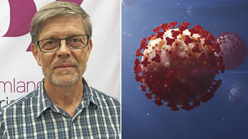 Signar Mäkitalo, smittskyddsläkare i Region Sörmland, vid sidan av en illustration av coronaviruset.