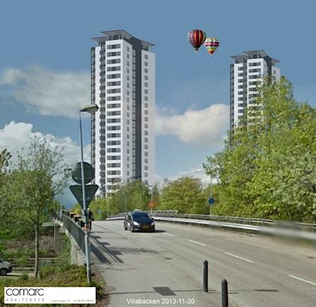 Förslag på nya höghus i Oxelösund. Bild: Comarc Arkitekter AB.