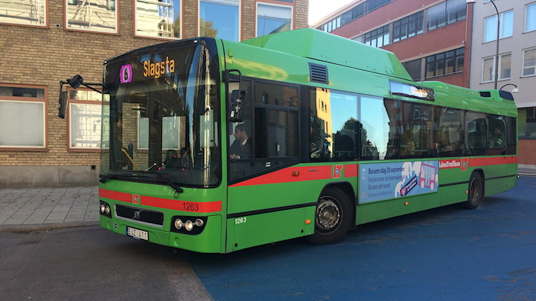 Grön buss svänger. Foto: Fredrik Blomberg/Sveriegs Radio