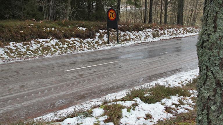 Isig väg. Foto: Foto: Leif Johansson/Sveriges Radio.