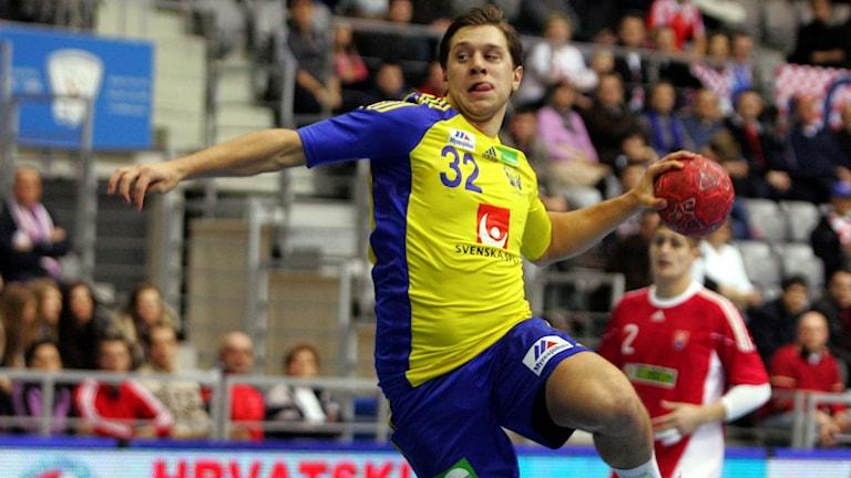 Mattias Zachrisson i en match mot Slovakien. Foto: Aleksandar Djorovic/TT.