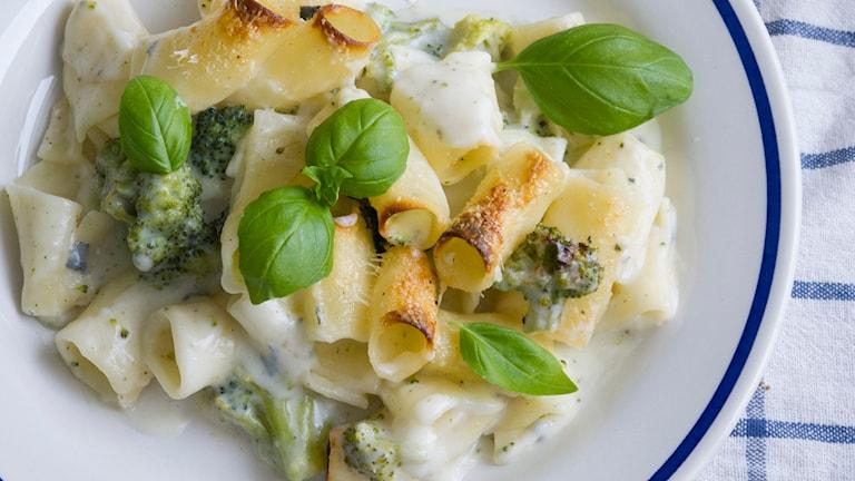 Pastagratäng med ädelost och broccoli. Foto: Malin Randeniye.