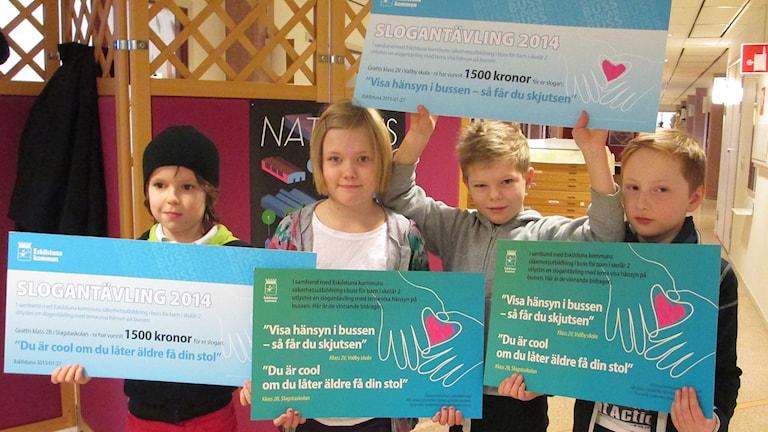 Melvin Gunnarsson, Siri Kallmin, Erik Lindqvist, Hampus Lindholm. Foto: Ingela Martinsgård/Sveriges Radio