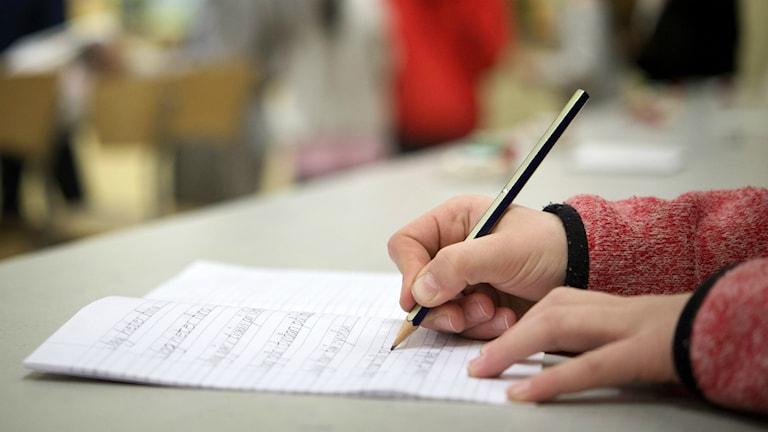 Elev skriver med en blyertspenna i ett skrivhäfte. Foto: Jessica Gow/TT.