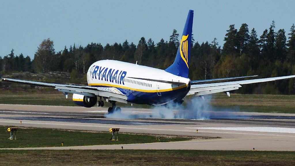 Flygplan landar på Skavsta flygplats. Foto: Johan Nilsson / TT