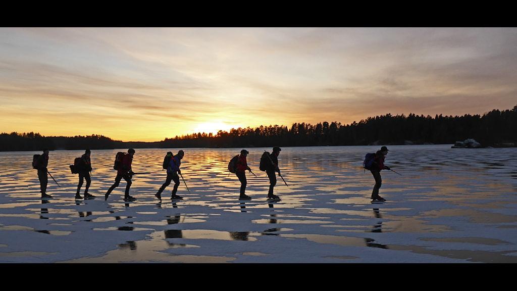 Kvällsljus då Eskilstuna långfärdsskridskoåkare passerade på Nedingen december 2014. Foto: Bo Johansson.
