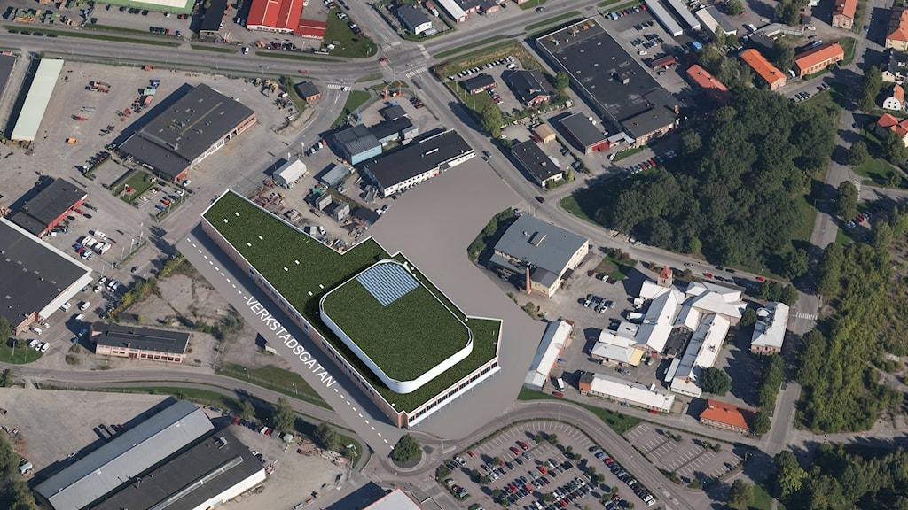Arena i Eskilstuna i flygperspektiv. Foto: AQ arkitekter