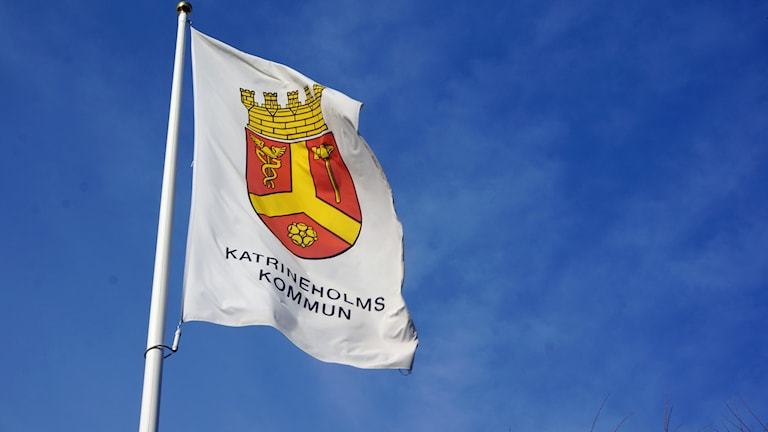 Flagga Katrineholms kommun. Foto: Katarina Larsson/Sveriges Radio.