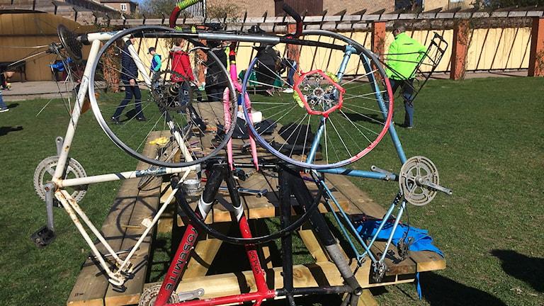 Staty av cyklar. Foto: Katarina Wahlström/Sveriges Radio.