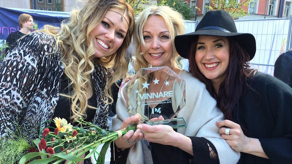 Miss Winter vinnare i Svensktoppen nästa 2015 i Sörmland. Foto: Evelina Crabb/Sveriges Radio.
