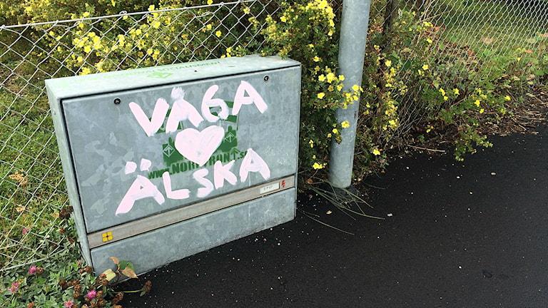 Någon har klottrat texten våga älska över nazistiskt klotter på ett elskåp. Foto: Annizeth Åberg/Sveriges Radio.