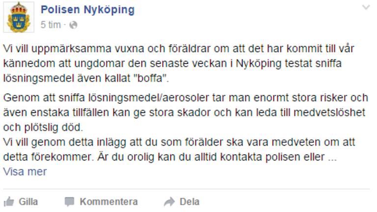 Polisens facebookinlägg