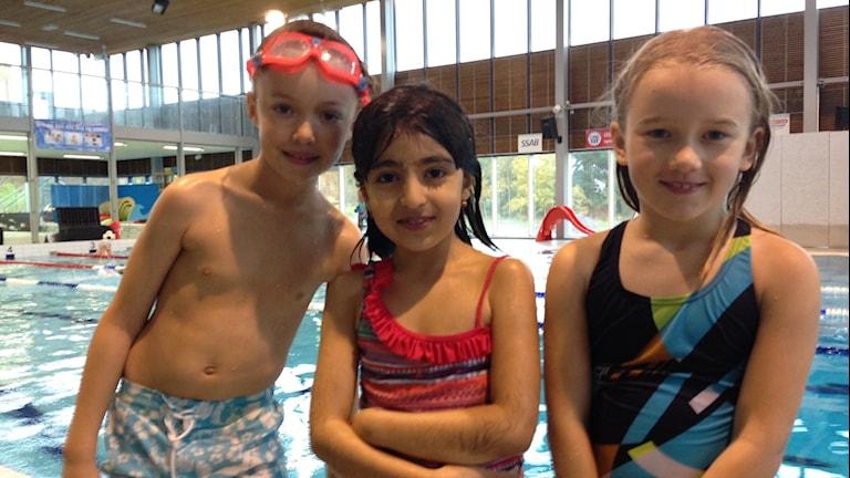 Marius, Armita och Elise från årskurs två på Herrhags skola i Nyköping.